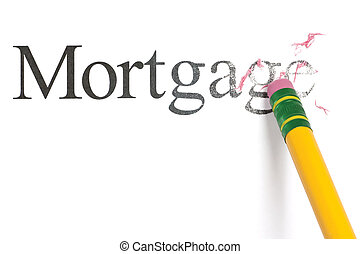 Erasing Mortgage - Close up of a yellow pencil erasing the...