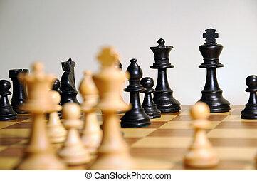 partita a scacchi - pezzi sulla scacchiera
