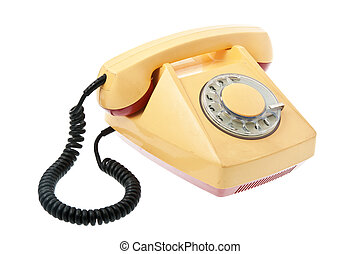 Old grunge yellow with red telephon. Isolated on white...