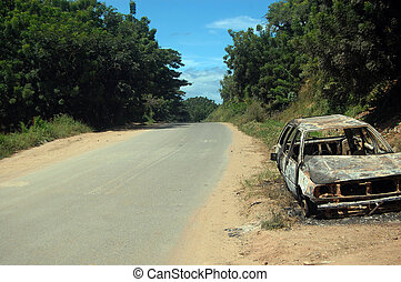 Abandoned car at roadside, Port Moresby, 6th Mile, Papua New...
