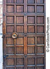 Old wooden monastery door