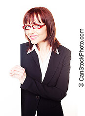 Business woman with glasses - Redhead business woman with...