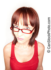 Portrait of redhead female with glasses