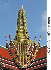 The gold-plated temple Cheddi - Red-green roof of the palace...