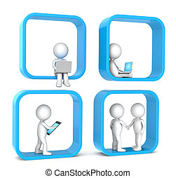 Social Network - 3D little human character X 4 Abstract...