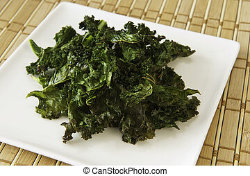 Leafy Green Snack Food - Nutritious snack of roasted kale...