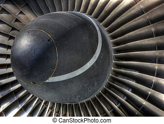 Jet engine inlet turbo vanes - High dynamic range image of...
