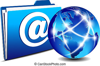 email folder communication globe - Network concept,...