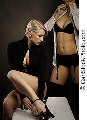 Blonde and brunette portrait - Double sensual portrait of...