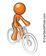 Orange Woman Riding Bike - Orange woman riding a bike,...