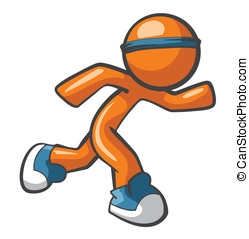 Orange Man Running with Blue Shoes - Orange Man running with...