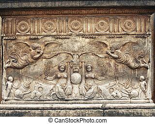 Allegorical bas-relief - Granada, Spain: Alhambra: Palacio...