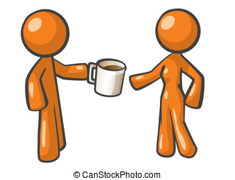 Orange Man and Woman Sharing Coffee. - Orange Man offering...