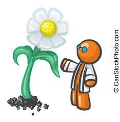 Orange Man Scientist Genetic Engineer Produce