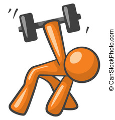 Orange Man Working out with Dumb Bells