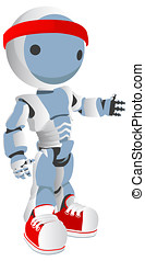 Blue Robot Runner with Red Shoes and Headband - Blue Robot...