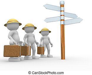 Road sing - 3d people - human character, person with a...