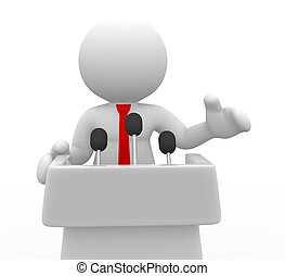 Tribune - 3d people - human character , person speaking from...