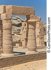View of columns and statues (The Kalabsha temple, Aswan, Egypt)