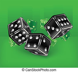 Dices on green - Dices for dribbling on green, vector...