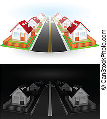 Street of houses - Street of residential houses with red...