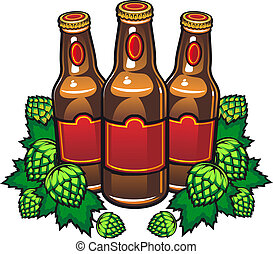 Beer bottles and hop in cartoon style for pub or tavern...