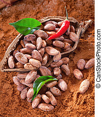 Cacao beans in a shell with cocoa leaves and beans and chili