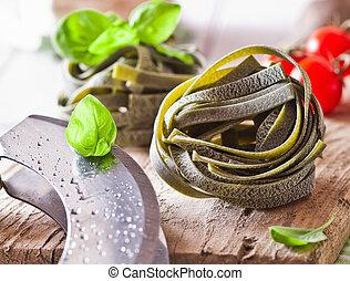 Uncooked Ribbon Tagliatelle Pasta - Uncooked ribbon...