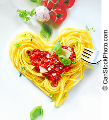 Heart Shaped Spaghetti - Cooked spaghetti carefully arranged...