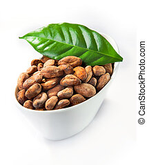 A bowl of cocoa with a green leaf isolated on white