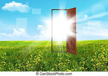 Open door in steppe - Abstract. Open door in steppe. The sky...