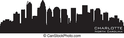 Charlotte, North Carolina skyline. Detailed vector...