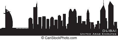 Dubai, Emirates skyline Detailed vector silhouette