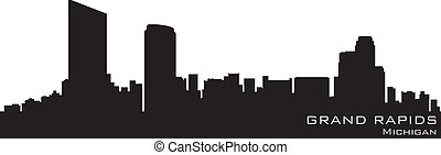 Grand Rapids, Michigan skyline Detailed vector silhouette