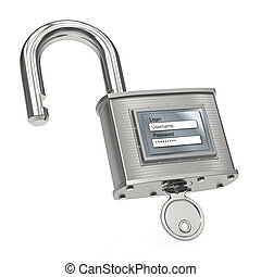Unlocking padlock with login and password. 3d