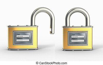 Locking and unlocking padlock with login and password 3d