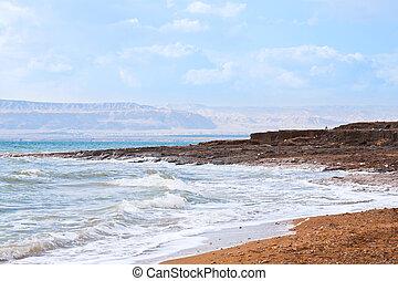 blue dawn on Dead Sea coast