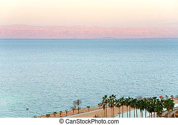 early pink sunrise on Dead Sea coast, Jordan