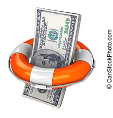 saving dollar - 3d illustration of dollar with rescue circle