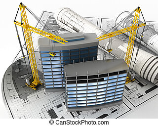 construction - 3d illustration of building design concept