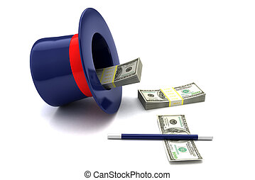 magic money - 3d illustration of magic hat and wand with...