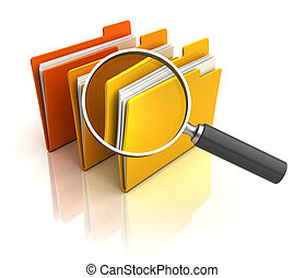 search in folders - 3d illustration of magnify glass and...