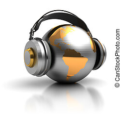 earth listening - abstract 3d illustration of earth globe...