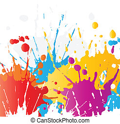 Grunge paint splats - Abstract background of brightly...