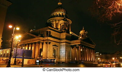 isaakiy cathedral dome at night, Saint-petersburg, Russia