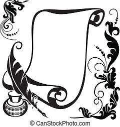 floral scroll - Scroll pen, ink and stylized floral pattern...