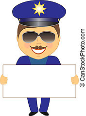 policeman with space for text - smile isolated policeman...