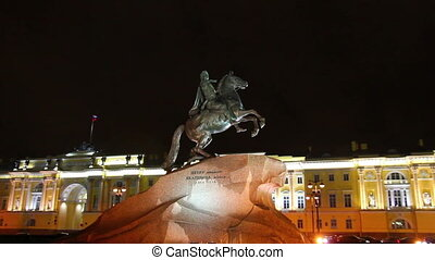 Peter 1 monument at night in Saint-petersburg, Russia
