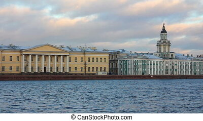 panorama of Neva river in the historical center of Saint-Petersburg, Russia - timelapse