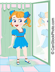 girl shoping - The girl measures a new dress in shop